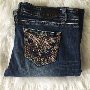 Grace in LA Boot Cut Jeweled Jeans Size 31